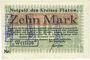 Banknotes Flatow (Zlotow, Pologne). Kreis. Billet 10 mk 16.11.1918 Cachet d'annulation noir & violet Wertlos