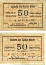 Banknotes Flatow (Zlotow, Pologne). Kreis. Billets. 50 pf (2 ex)  26.7.1918