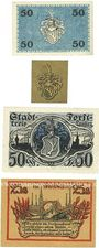 Banknotes Forst in Lausitz (Zasieki, Pologne). Billets. 50 pf 21.4.1917, 1 pf 1918, 25, 50 pf 1.6.1920