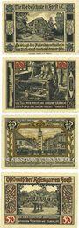Banknotes Forst in Lausitz (Zasieki, Pologne). Série de 4 billets. 10, 20, 25, 50 pf 1.7.1921