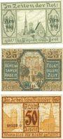 Banknotes Frankenstein (Zabkowice, Pologne). Stadt. Billets. 10, 25, 50 pf 10.12.1920