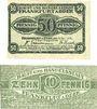 Banknotes Frankfurt a. Oder (Frankfurt a. Oder et Slubice en Pologne). Stadt. Billets. 50 pf 1919, 10 pf 1920