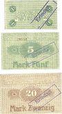 Banknotes Frankfurt. Frankfurter Maschinenbau Akt.-Ges. vorm Pokorny & Wittekind Billets 1, 5, 20 mk 1.11.1918