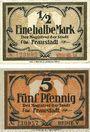 Banknotes Fraustadt (Wschowa, Pologne). Stadt. Billets. 1/2 mark, série (Reihe) III, 5 pf, série (Reihe) V