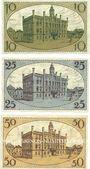 Banknotes Fraustadt (Wschowa, Pologne). Stadt. Billets. 10 pf, série (Reihe) II, 25 pf, 50 pf série (Reihe) I