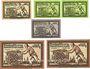 Banknotes Freiberg. Stadt. Billets. 10 pf série A, 5 pf (2ex) série L, M 10 pf série P, 50 pf (2ex) série S, T