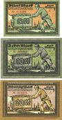 Banknotes Freiberg. Stadt. Billets. 5 mark série C, 10 mark série C, 20 mark série A 15.11.1918