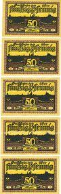 Banknotes Freiberg. Stadt. Série de 5 billets. 50 pf  1921
