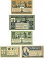 Banknotes Freiburg in Schlesien (Schwiedodzice Pologne) Stadt billets 25,50,25 pf 15.6.1919;10,50 pf 1.10.1920