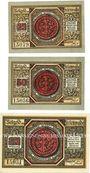 Banknotes Freienwalde (Chociwel, Pologne). Stadt. Billets. 25 pf, 50 pf, 75 pf 1920