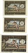 Banknotes Freienwalde (Chociwel, Pologne). Stadt. Billets. 25 pf, 50 pf, 75 pf 1921