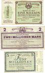 Banknotes Freital. Stadt. Billets. 1 million mk 10.8.1923, 2 millions mk 15.8.1923, 5 millions mk 25.8.1923