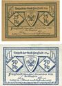 Banknotes Freystadt (Kisielice, Pologne). Stadt. Billets. 25 pf, 50 pf 1.12.1920