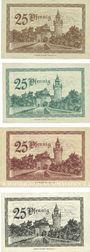 Banknotes Friedberg. Stadtkasse. Billets. 25 pf 1.3.1919, 25 pf 1.11.1919, 25 pf 1.3.1920, 25 pf 1.12.1920