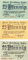 Banknotes Friedberg. Stadtkasse. Billets. 25 pf 1.3.1919, 25 pf 1.3.1920, 25 pf 1.12.1920