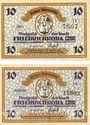 Banknotes Friedrichroda. Stadt. Billets. 10 pf (2ex), série C et E (1920)