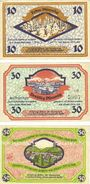 Banknotes Friedrichroda. Stadt. Billets. 10 pf série B, 30 pf série D, 50 pf série E (1920)