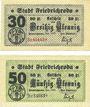 Banknotes Friedrichroda. Stadt. Billets. 30 pf, 50 pf janvier 1920