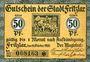 Banknotes Fritzlar. Stadt. Billet. 50 pf 11.10.1920, étoile après le numéro de 4 mm