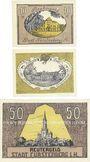 Banknotes Fürstenberg in Meckl. Stadt. Série de 3 billets. 10, 25, 50 pf n.d. - 31.5.1922, Reutergeld