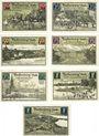 Banknotes Fürstenberg in Meckl. Stadt. Série de 7 billets. 10, 25, 50 75 (2ex) pf, 1 mark (2ex) 1.8.1921