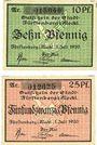 Banknotes Fürstenberg. Stadt. Billet. 10 pf, 25 pf 1.7.1920, réimpression