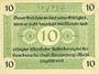 Banknotes Fürstenberg. Stadt. Billet. 10 pfennig 1.7.1920, réimpression