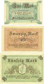 Banknotes Fürstenwalde. Stadt. Billets. 5 mark, 20 mark, 50 mark 3.12.1918