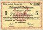 Banknotes Furtwangen. Stadt. Billet. 5 mark 6.11.1919 (erreur)