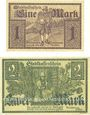 Banknotes Furtwangen. Stadt. Billets. 1 mark, 2 mark 1.12.1918, originaux, annulation par cachet ENTWERTET