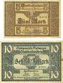 Banknotes Furtwangen. Stadt. Billets. 5 mk, 10 mk nd - 1.12.1918, originaux, annulation par cachet ENTWERTET