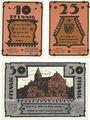 Banknotes Gadebusch. Stadt. Billets. 10 pf, 25 pf, 50 pf (1922), Reutergeld