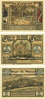 Banknotes Geisa i. Rhön. Stadt. Billets. 75 pf surchargé / 1 mark 1921 (3ex)