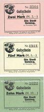 Banknotes Geising. Stadt. Billets. 2 mark, 5 mark, 10 mark 15.11.1918