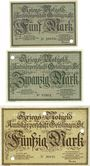 Banknotes Geislingen a. Steige. Amtskörperschaft. Billets. 5, 20, 50 mark nov 1918 annulation par perforation