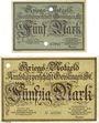Banknotes Geislingen a. Steige. Amtskörperschaft. Billets. 5 mark, 20 mark nov 1918 annulation par perforation