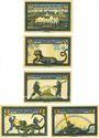 Banknotes Geldern. Kreiskommunalkasse. Série de 5 billets. 25 pf, 50 pf, 75 pf, 1 mark, 2 mark (1922)