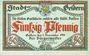 Banknotes Geldern. Stadt. Billet. 50 pf  9.11.1918, papier gris