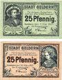 Banknotes Geldern. Stadt. Billets. 25 pf 7.5.1920, 25 pf 30.3.1921
