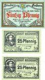 Banknotes Geldern. Stadt. Billets. 50 pf 9.11.1918, papier blanc, 25 pf 3.11.1919, 25 pf 7.5.1920