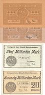 Banknotes Gelnhausen. Stadt. Billets. 500000, 1 million  mk 25.8., 5 milliards 25.10., 20 milliards 28.10.1923