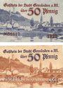 Banknotes Gemünden a. M. Stadt. Billets. 50 pf 1920, 50 pf 1921, originaux