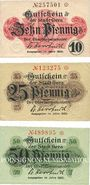 Banknotes Gera. Stadt. Billets. 10 pf, 25 pf, 50 pf 1920