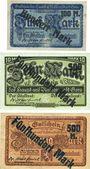 Banknotes Gera. Stadt. Billets 100 mark / 5 mark, 500 mark /10 mark, 500 mark /20 mark 25 sept 1922