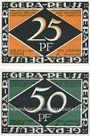 Banknotes Gera. Stadt. Billets. 25 pf, 50 pf 1.5.1921