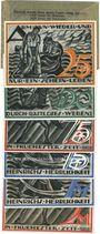 Banknotes Gera. Stadt. Billets 25 pf, 50 pf, 75 pf (2ex) série A, 1.5.1921, 1 mark, 2 mark 1.5.1921