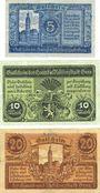 Banknotes Gera. Stadt. Billets. 5 mark, 10 mark, 20 mark n.d. - 1.2.1919