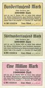 Banknotes Gersdorf. Franz Münch. Billets. 100 000, 500 000, 1 million mark 25.8.1923