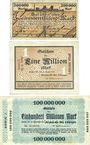 Banknotes Gerthe. Bergbau - Akt. Ges. Lothringen. Billets. 200000 mk, 1 million mk, 100 million mk 1923