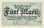 Banknotes Gevelsberg. Stadt. Billet. 5 mark 5.11.1918, annulation par perforation KASSIRT